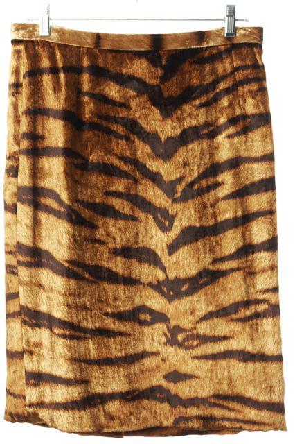DOLCE & GABBANA Brown Leopard Print Calf Hair Straight Skirt