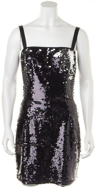 DOLCE & GABBANA Metallic Black Sequin Sheath Dress US 4 IT 40
