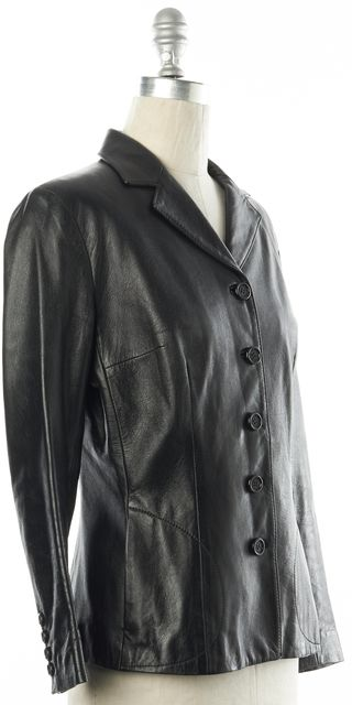 DOLCE & GABBANA Black Leather Fitted Blazer Jacket