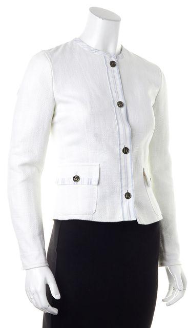 DOLCE & GABBANA White Blue Strip Trim 2 Pocket Basic Jacket