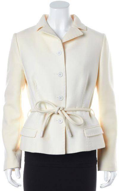 DOLCE & GABBANA Ivory Wool Waist Tie Blazer Basic Jacket