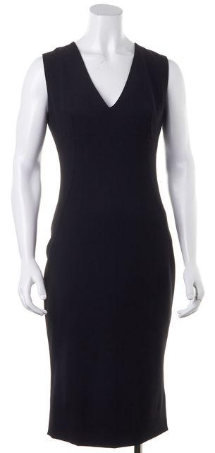 DOLCE & GABBANA Black Stretch Wool Sleeveless V-Neck Sheath Dress