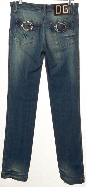 DOLCE & GABBANA Blue Embellished Distressed Straight Leg Jeans