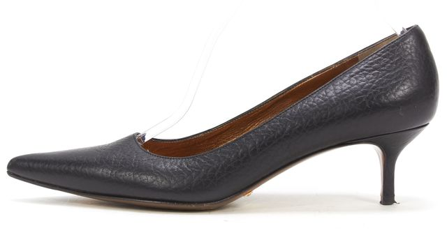 DOLCE & GABBANA Black Pebbled Leather Kitten Heel Pointed Toe Pumps