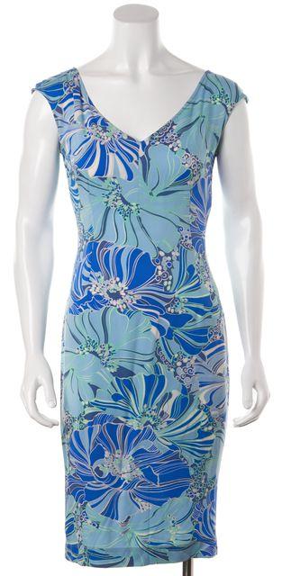 DOLCE & GABBANA Blue Floral Silk Sheath Dress Fits Like