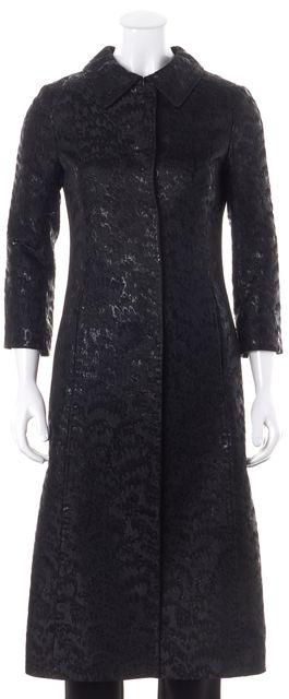 DOLCE & GABBANA Metallic Black Abstract Print Long Basic Coat