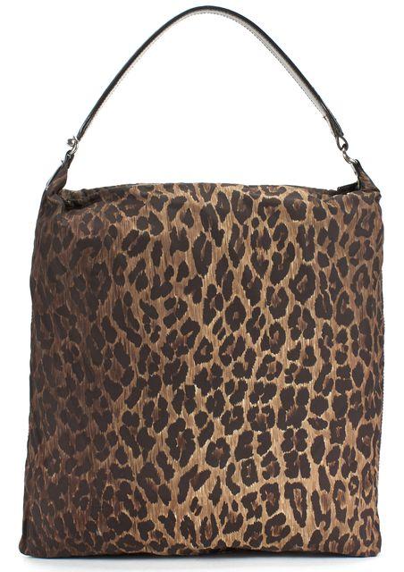 DOLCE & GABBANA Brown Leopard Print Canvas Patent Leather Trim Tote