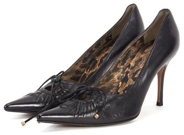 DOLCE & GABBANA Black Leather Point-Toe Heels