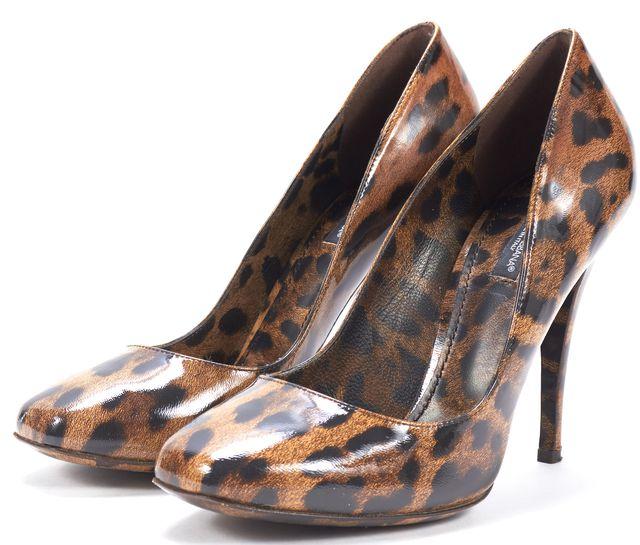 DOLCE & GABBANA Brown Leopard Animal Print Patent Leather Pump Heels