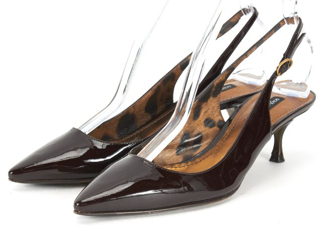 DOLCE & GABBANA Brown Patent Leather Pointed Toe Slingback Kitten Heels