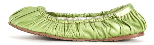 DOLCE & GABBANA Green Leather Gathered Round Toe Ballet Flats
