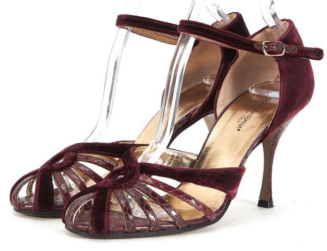 DOLCE & GABBANA Purple Velvet Snake Embossed Leather Ankle Strap Heels