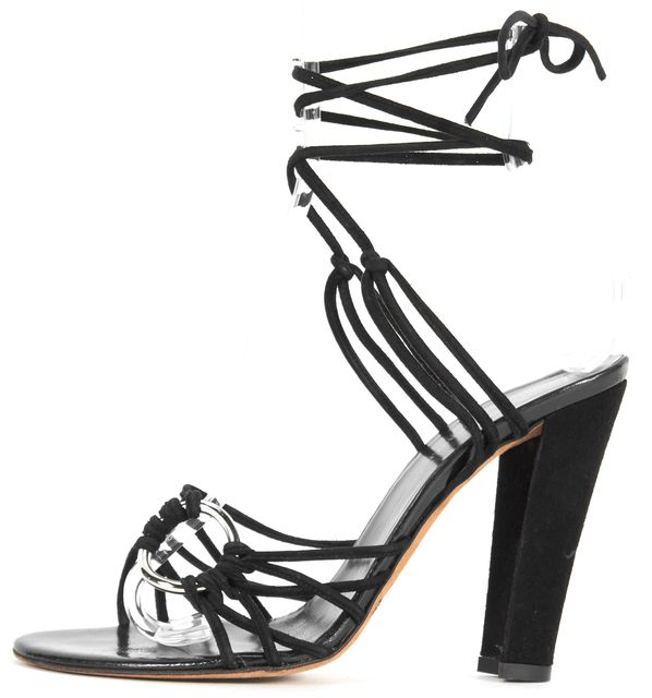 DOLCE & GABBANA Black Suede Lace-Up Sandal Heels