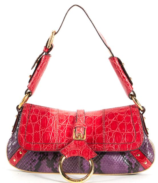 DOLCE & GABBANA Red Purple Python Crocodile Gold Hardware Shoulder Bag