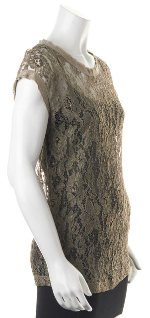 DOLCE & GABBANA Brown Floral Lace Sheer Blouse Top
