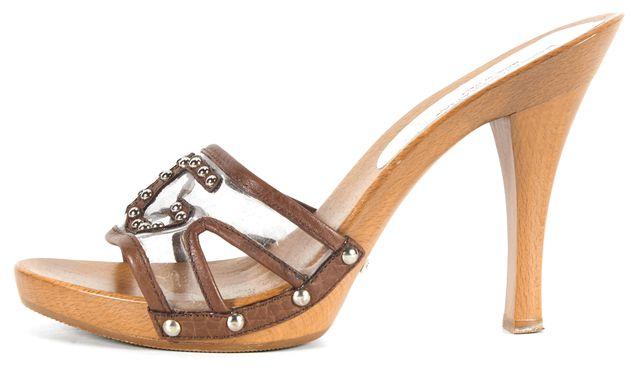 DOLCE & GABBANA Brown Leather Embellished Slide-On Platforms