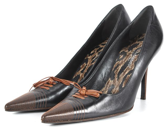 DOLCE & GABBANA Black Brown Leather Lace-Up Pointed Toe Pumps
