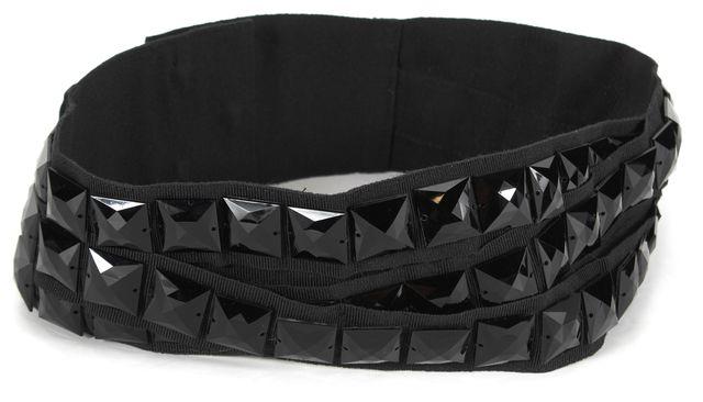 DOLCE & GABBANA Black Embellished Grosgrain Ribbon Wide Belt