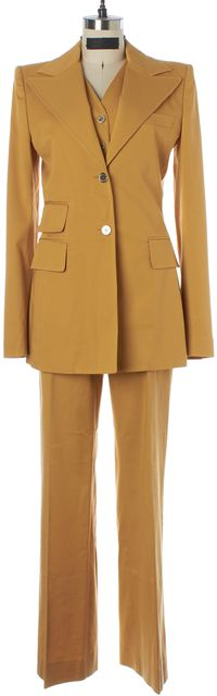 DOLCE & GABBANA Mustard Yellow 3 Piece Pant Suit Set US 6 IT 42