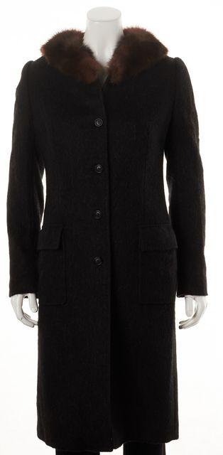 DOLCE & GABBANA Gray Brown Alpaca Fur Trim Basic Coat