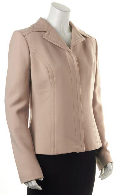 DOLCE & GABBANA Nude Beige Virgin Wool Snap Button Basic Jacket