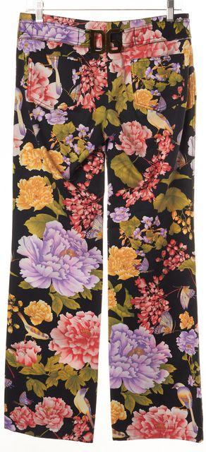 DOLCE & GABBANA Black Pink Green Floral Print Casual Pants