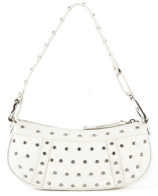 DOLCE & GABBANA White Pebbled Leather Crystal Embellished Shoulder Bag