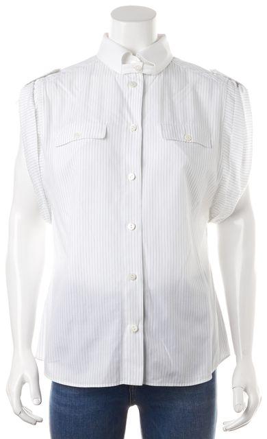 DOLCE & GABBANA White Blue Striped Button Down Shirt Blouse Top