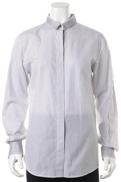 DOLCE & GABBANA White Striped Button Down Shirt Career Dress Top