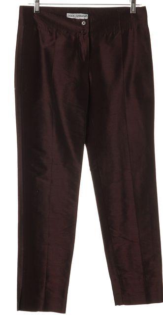 DOLCE & GABBANA Purple Black Silk Pants