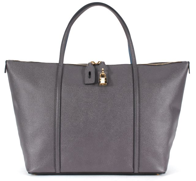 DOLCE & GABBANA Blue Gray Color Block Pebbled Leather Tote