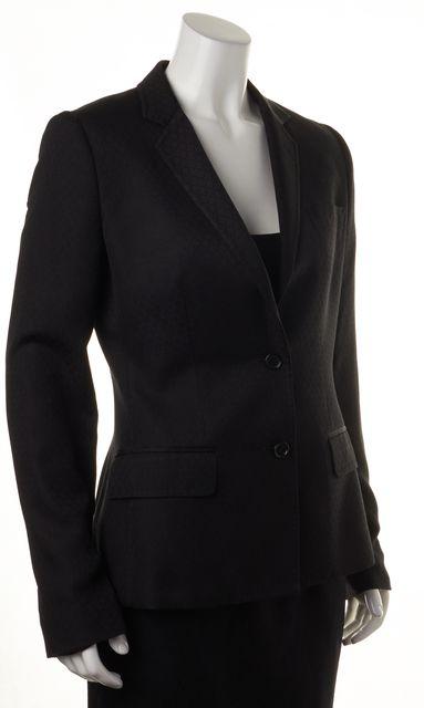 DOLCE & GABBANA Black Diamond Stitch Leopard Print Lined Blazer