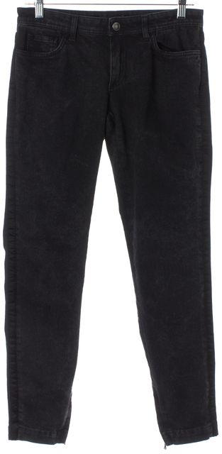DOLCE & GABBANA Black Leather Trim Ankle Zipped Mid-Rise Skinny Jeans