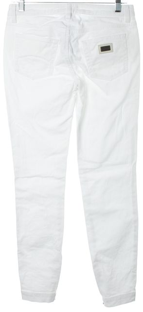 DOLCE & GABBANA White Ankle Zipped Mid-Rise Skinny Jeans