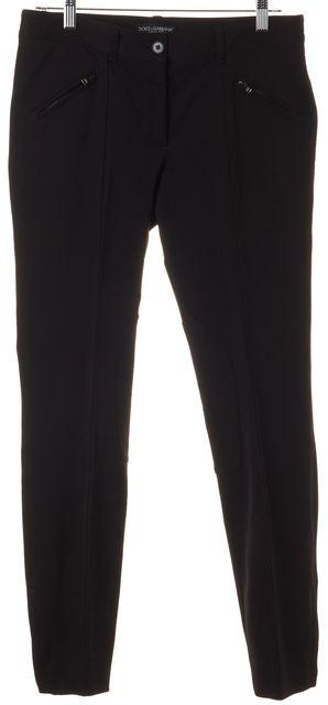 DOLCE & GABBANA Black Nylon Ankle Zipped Trousers Pants