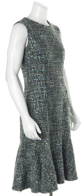 DOLCE & GABBANA Blue Teal Tweed Sleeveless Mid-Calf A-Line Dress