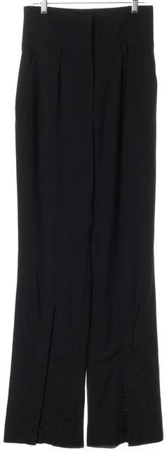 DOLCE & GABBANA Black Wool High Rise Flared Button Trim Dress Pants