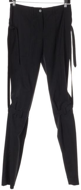 DOLCE & GABBANA Black Wool Zip Back Skinny Leg Trousers Pants