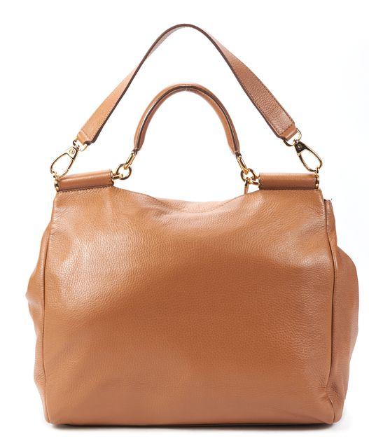 DOLCE & GABBANA Brown Deer Skin Large Soft Miss Sicily Genuine Leather Satchel