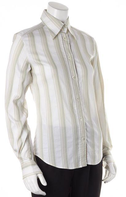 DOLCE & GABBANA White Green Striped Button Down Shirt
