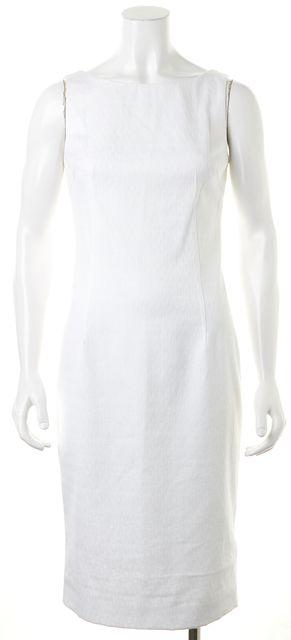 DOLCE & GABBANA White Embroidered Sleeveless Sheath Dress
