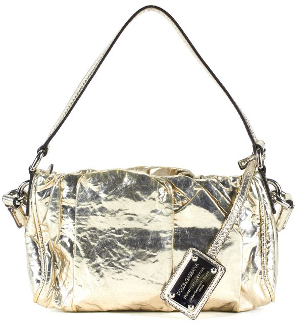 DOLCE & GABBANA Gold Patent Leather Satchel Shoulder Bag