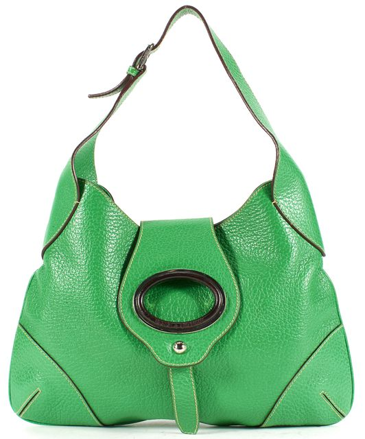 DOLCE & GABBANA Green Brown Pebbled Leather Hobo Shoulder Bag