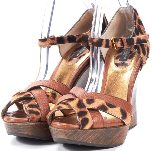 DOLCE & GABBANA Brown Leather Leopard Print Calf Hair Sandal Wedges
