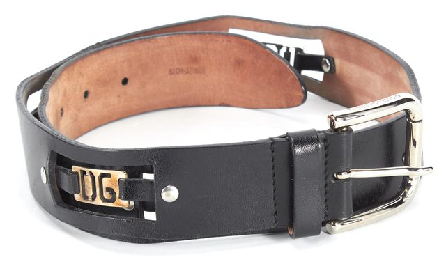 DOLCE & GABBANA Black DG Embellished Leather Belt