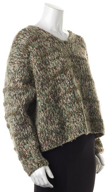 DOLCE & GABBANA Green Wool Chunky Knit V-Neck Sweater