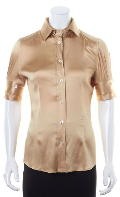 DOLCE & GABBANA Champagne Beige Shimmery Satin Button Down Shirt