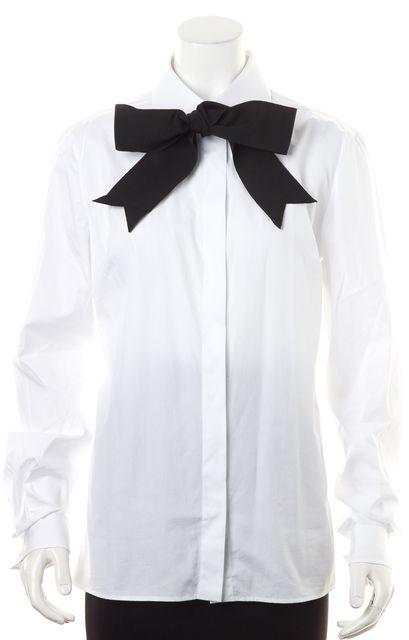 DOLCE & GABBANA White Black Bow-Tie Neck Button Down Blouse Top