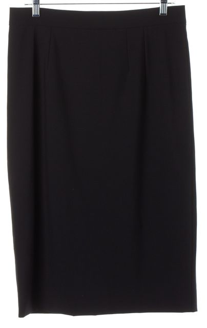 DOLCE & GABBANA Solid Black Wool Back Slit Straight Skirt Size IT 46 US 10