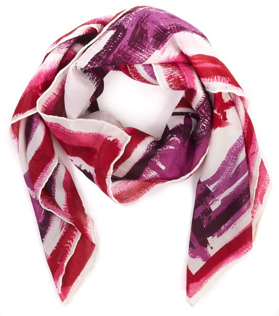 DOLCE & GABBANA Ivory Red Pink Purple Silk I Love Sex Scarf